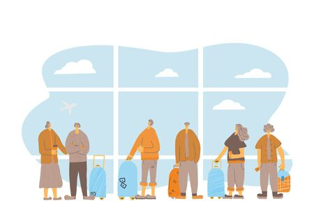 People at the airport. going to travel together. Friends characters standing with their baggage isolated on white background. Vector flat illustartion.