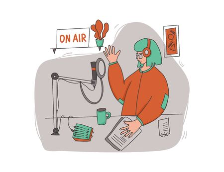 Podcasting concept. Young woman recording a show in a studio. Cute female host make a new content for her social media blog. Vector illustartion.