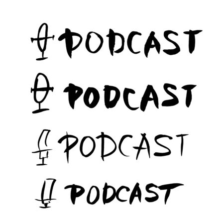 Podcasting. Text and logo. Studio microphone and lettering. Vector illustration.
