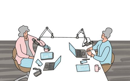 Podcast concept. Young women recording a podcast in a studio together. Online show. Vector illustartion.