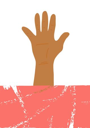 Poster template with hand. blank for banner. Vector illustartion.