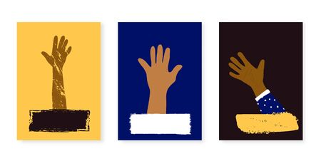Set of poster template with hand. Collection of blanks for banner. Vector illustartion.