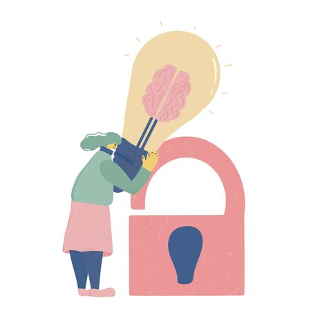 Intellectual property rights. Young woman trying to protect her idea metaphor. Tiny girl holding a big bulb in her hands and using a lock to save product of her mind.  Vector illustration. Ilustrace
