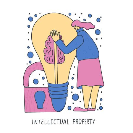 Intellectual property concept. Young woman trying to protect her idea isolated on white background. Female character hugging a huge bulb. Vector illustration in doodle style. Ilustração Vetorial