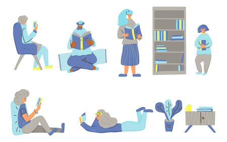 Set of people reading a books isolated on white background. Collection of cute charcters holding and leafing through popular literature. Fiction and non-fiction fans. Vector flat illustration.