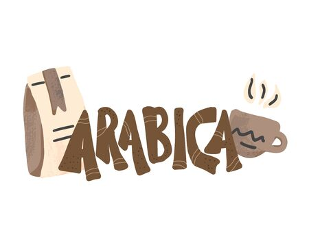 Arabica text emblem. Hand drawn lettering. Hot beverage. Sorts of coffee. Vector illustration.
