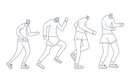 Senior runners. Old person jogging isolated. Vector design. Çizim