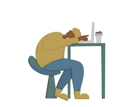 Boring job concept. Young man  sitting at the laptop and sleeping. Tired character at work. Flat vector illustration. Illustration