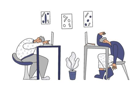 Overtime concept. Tired men sitting at the table and sleeping. Exhausted freelancers  at  laptops. Vector illustration.