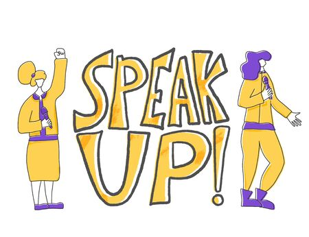 Speakers characters. speak up quote. Two young various women standing with microphone. Orator speaking. Girls with mike in full length. Vector flat color illustartion. Çizim