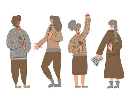 Speakers characters. Group of young various women standing with microphone. Orator speaking. Girls with mike in full length. Vector flat color illustartion. Çizim