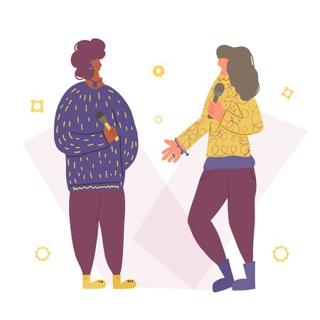 Speakers characters. Two pretty various women standing with microphone. Female stand up. Girls with mike in full length. Vector flat color illustartion. Illustration