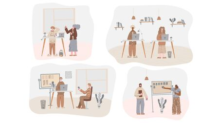 Set of scenes at office. Various people working together. Brainstorming, business meetimg, routine work, goal setting . Vector flat cartoon color illustration. Çizim