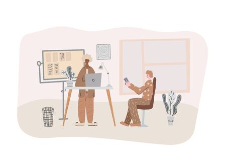 Working people. Two men discussing corporate project. Employees coworking space concept. Vector flat cartoon color illustration.