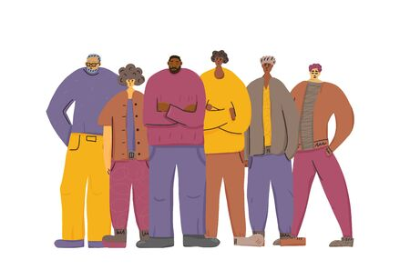 Group of man of different ages standing together. Male characters team isolated on white background. Vector illustration.