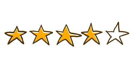 Four stars feedback rating. Vector illustartion in doodle style.