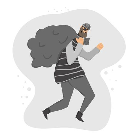 Thief with bag running away. Person dressed in striped shirt, hat and mask sneaking with looted property isolated on white background. Burglar with bag concept. Vector flat illustration.