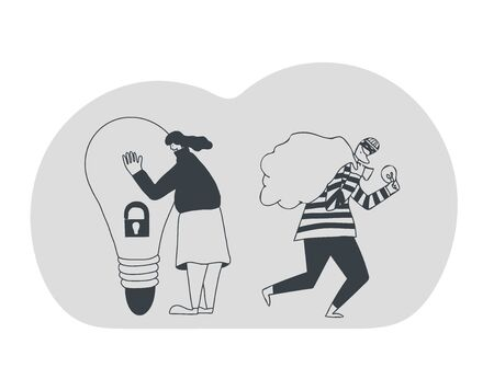 Stop plagiarism concept, infringement of copyright. Young woman trying to protect her idea and beard man stealing it metaphor. Thief in mask running away with a bulb in his hands. Vector illustration.