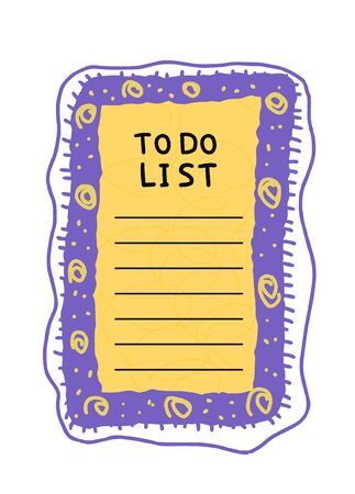 To do list template. Hand drawn reminder blank with copy space for text. Vector illustration.  Illustration