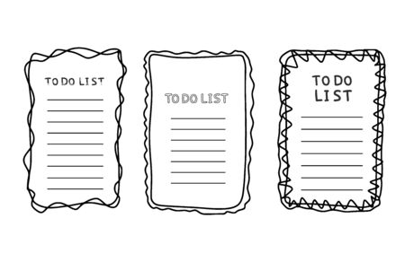 Collection of to do list templates. Set of hand drawn reminder blank with copy space for text. Vector illustration.  Illustration