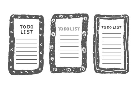 Set of to do list template. Hand drawn reminder blank with copy space for text. Vector illustration.