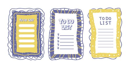 To do list templates set. Hand drawn reminder blanks collection with copy space for text. Vector illustration.  Illustration