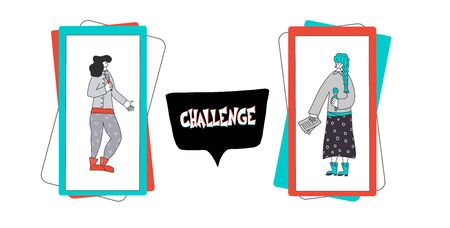 Challenge concept. Social media flashmob. Cute young women in phone screens. Vector illustration. Çizim