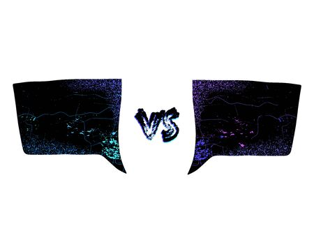 VS screen. Versus sign on divided background. Decorative battle cover with lettering. Vector illustration. 矢量图像