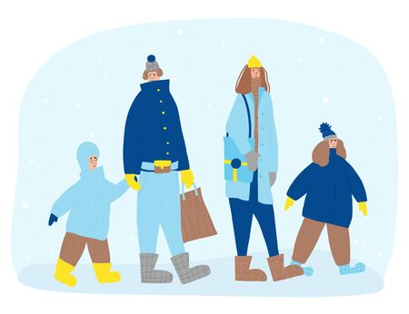 Family characters dressed in warm trendy clothes walking at winter snowfall. Parents and kids going with shopping bag. Vector color flat cartoon illustration.