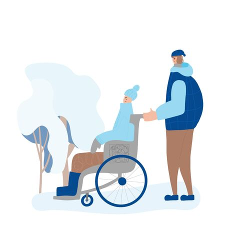 Two friends dressed in winter clothes walking aroud a park. Man in wheelchair and teenage boy spending time together.  Person with disability accompanies by yong volunteer. Vector color flat cartoon illustration. Ilustrace
