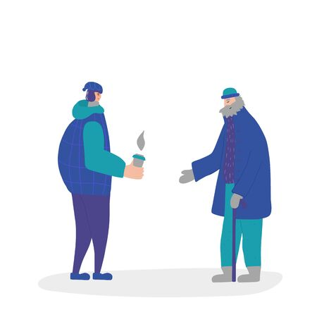 Two male characters different age dressed in winter clothes standing opposite each other and talking. Grandfather have a conversaion with his grandson isolated on white background. Vector flat cartoon illustration.