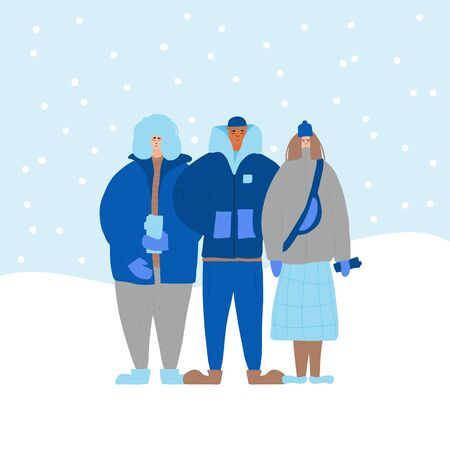 Three young adult characters dressed in warm trendy clothes. Friends standing together outdoor. Teenagers group in comfy outerwear wearing. Vector flat illustration.