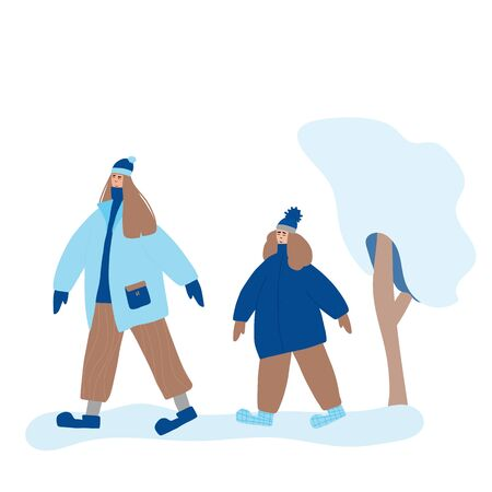 Cute female characters dressed in warm trendy clothes going to the park. Mother and daughter spend time together outdoor. Two brunette girls different age walking together. Vector flat illustration.