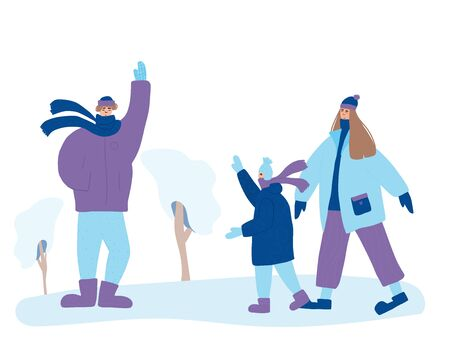 Family winter walking. Young mother, father and little son standing at snow park. Happy persons dressed in warm trendy clothes: scarf, mittens, knitted hats, winter lackets. Vector flat illustration