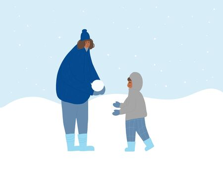 Mother and child dressed in outerwear walking outdoor. Pretty little boy and woman wearing in cozzy clothes, knitted minttens playing in the snow isolated on white background. Vector flat illustration Illustration