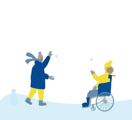 Two little children dressed in warm trendy clothes playing in snow outdoor. pretty girl in a wheelchair and cute boy  walking together. Vector color flat cartoon illustration. Çizim