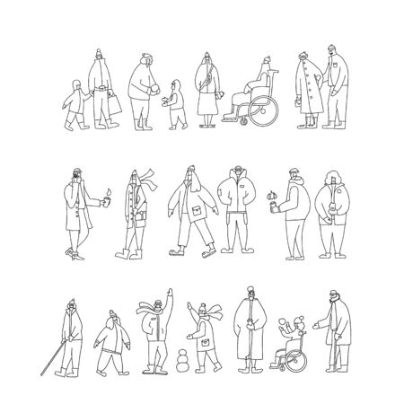 Set of people dressed in warm trendy clothes walking outdoor. Collection of different ages persons wearing in outerwear isolated on white background. Vector illustration in doodle style. Çizim