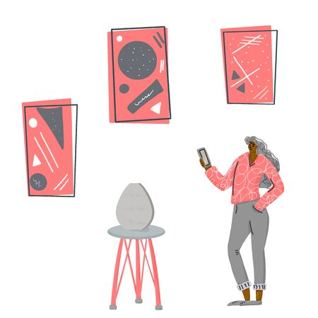 Exhibition visitor. Young adult character standing and take a picture at contemporary art gallery. Teenager girl viewing exhibits in museum. Vector flat illustartion.
