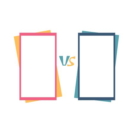 Versus  sign with copy space. VS screen. Decorative battle cover with lettering. Template for banner for competition. Vector illustration. Çizim