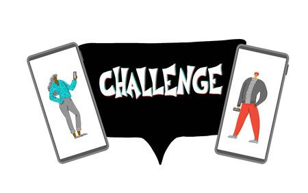 Challenge concept. Social media contest. Cute man  and woman in phone screens. digital comparison. Vector illustration.