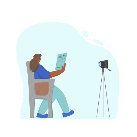 Young female blogger sitting in the cozy chair with notes and recording a video. Cute influencer talking with hes followers against camera on tripod. Key opinion leader. Vector flat illustration. 스톡 콘텐츠 - 138452395