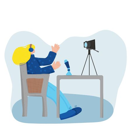 Young female blogger sitting in the comfy chair and recording a new video. Cute influencer talking with her followers against camera on tripod. Key opinion leader. Vector flat illustration. 일러스트