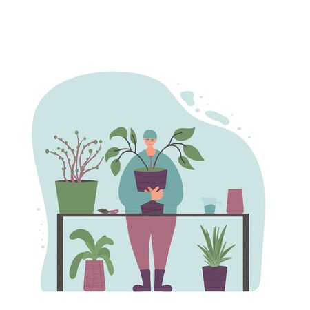 Plant lover. Smiling person wearing in cozy clothes and hat holding in hands indoor flower. Plants therapy concept. Vector flat color illustration.