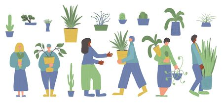 Indoor plants lovers set. Different human characters surrounded by potted house plants. Group of people with home flowers isolated on white background. Vector color flat illustration.