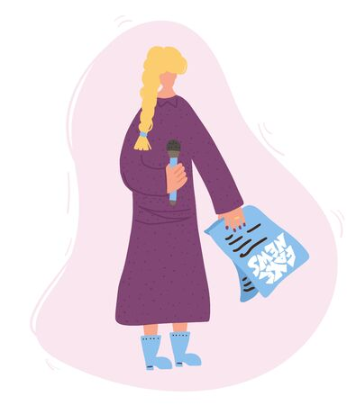Fake news concept. Young blonde with braid standing and talking about propaganda.  Woman in a long dress holding a microphone and her speech paper. Jornalists performance. Vector illustration. Ilustração