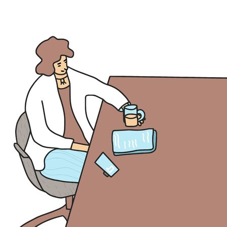 Young woman sitting at the table with cup of tea, phone and her documents.  Female person preparating for the interview or speech. Vector illustartion. Stok Fotoğraf - 138452402