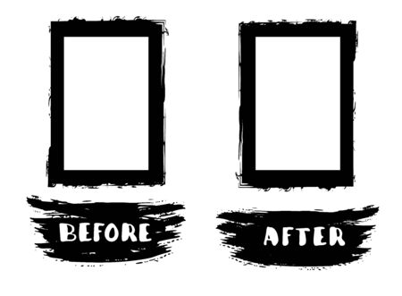 Before and After template. Comparison ink brush elements withcopy space. Vector illustartion. 일러스트