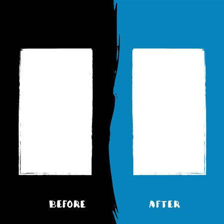 Before and After template. Comparison card with copy space. Vector illustartion. 일러스트