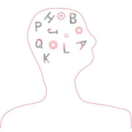 Dyslexia concept. Human brain with alphabet symbols. Vector sign with stylized letters. Ilustração