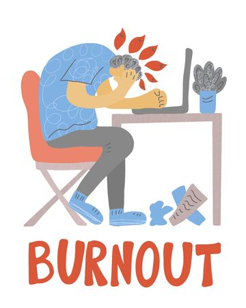 Burnout syndrome concept. Young man sitting at the table with laptop. Vector person at the table.